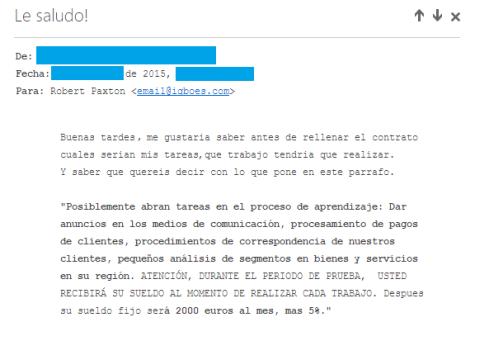 Ofertas de empleo falsas - correo 2
