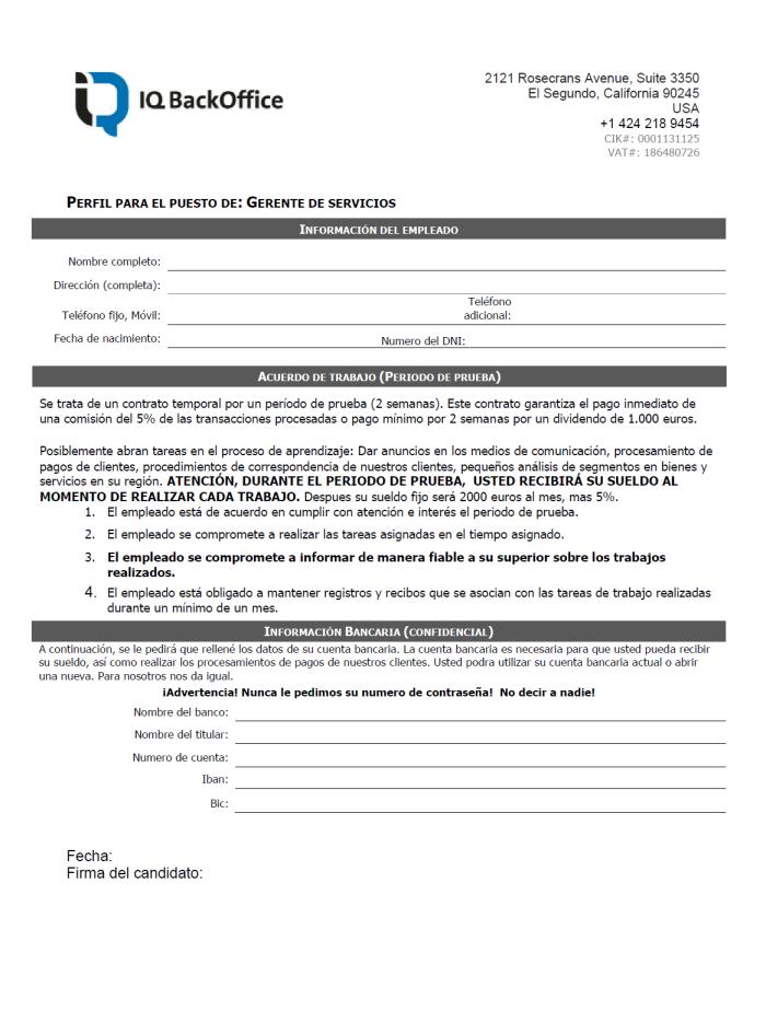 Ofertas de empleo falsas - formulario
